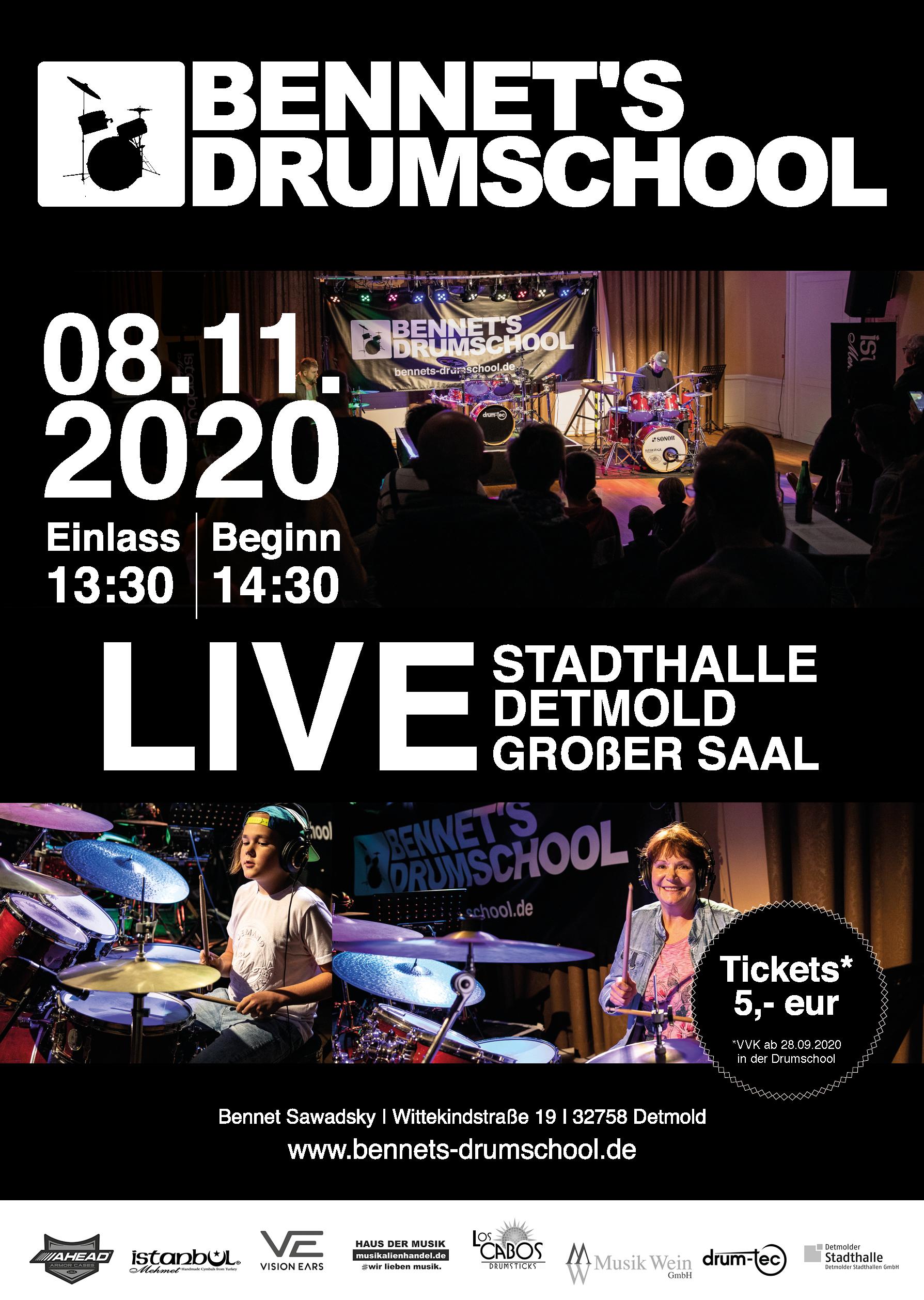 08.11.2020 Bennet´s Drumschool LIVE 2020 STADTHALLE Detmold (Großer Saal)